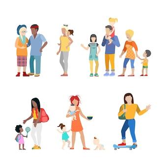Familia activa, jóvenes urbanos, padres, crianza, enfermería, niñera, niñera, pareja