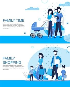 Familia activa tiempo y compras plantilla de banner plana conjunto