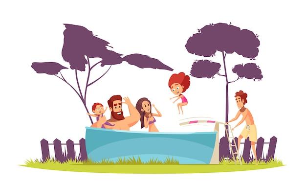 Familia activa vacaciones de verano padres e hijos en la piscina con trampolín cartoon
