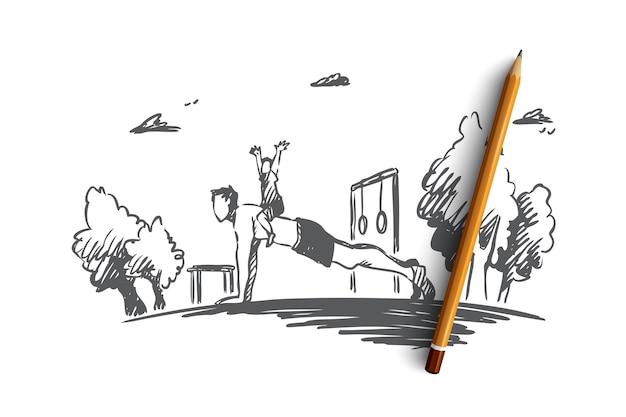 Familia, actividad, papá, niño, concepto de flexión. dibujado a mano joven padre haciendo ejercicios con su bosquejo del concepto de hijo.