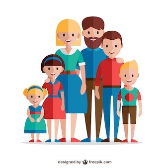 Familia adorable en diseño plano