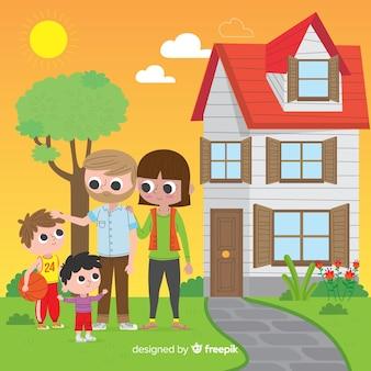 Familia adorable en casa con diseño plano