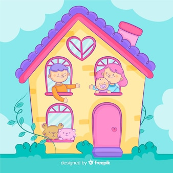 Familia adorable en casa dibujada a mano
