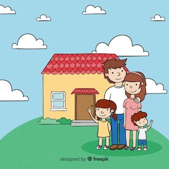 Familia adorable en casa dibujado a mano
