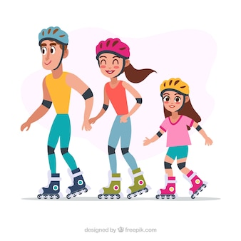 Familia adorable patinando juntos