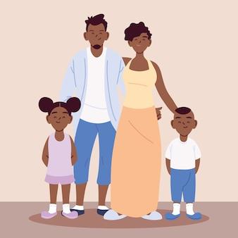 Familia afro, padres con niños tomados de la mano, diseño de ilustraciones