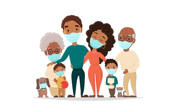 Familia afroamericana en mascarilla médica
