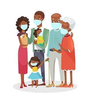Familia afroamericana de pie juntos en máscaras de protección aislado sobre fondo blanco.