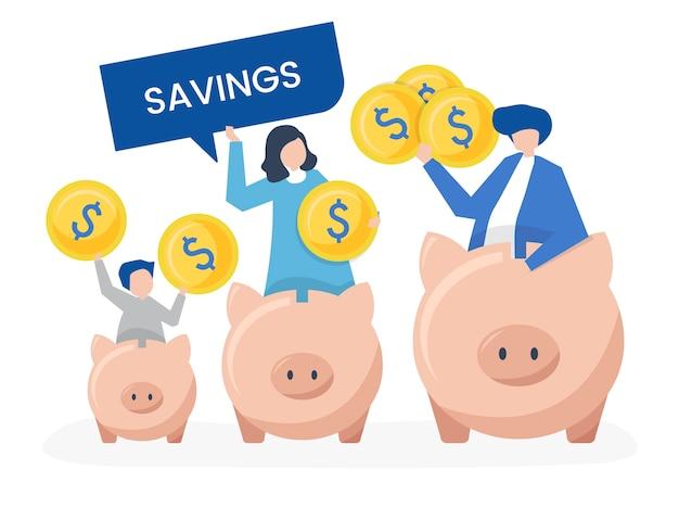 Familia con ahorros e ilustración de los iconos de hucha