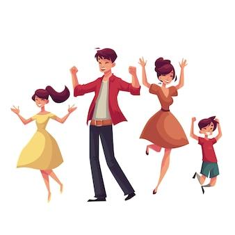 Familia alegre estilo de dibujos animados saltando de felicidad