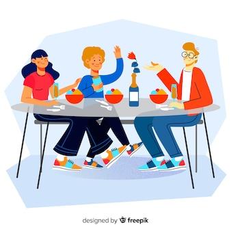 Familia alrededor de la mesa dibujada a mano