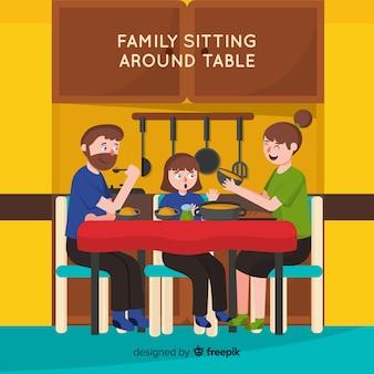 Familia alrededor de la mesa