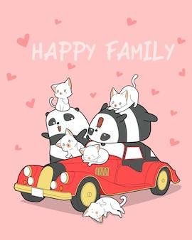 Familia de animales y carro rojo.