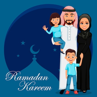 Familia árabe feliz. padre, madre, hijo e hija.