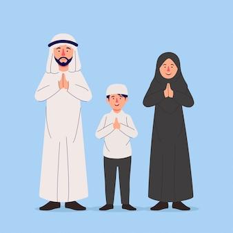 Familia árabe gesticular orando saludo mano