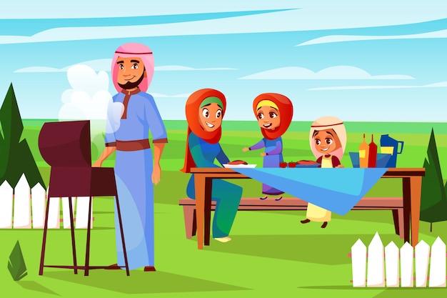 Familia árabe en la ilustración de la comida campestre de la barbacoa. caricatura de padre musulmán saudita