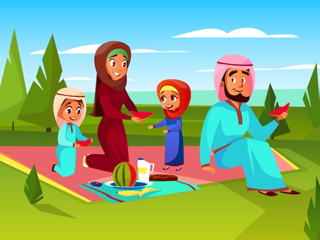 Familia árabe en la ilustración de dibujos animados de picnic. padre y madre musulmanes sauditas en khaliji