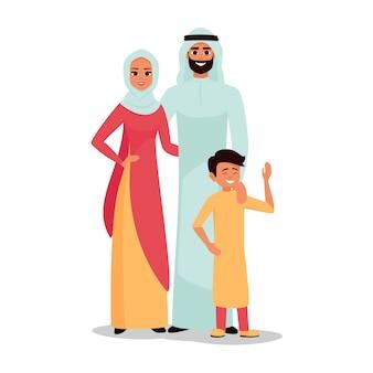 Familia árabe padre, madre y su hijo juntos.