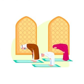 Familia árabe rezando juntos ilustración