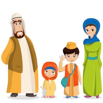 Familia árabe en ropa nacional. padres, niños en trajes musulmanes, ropa islámica