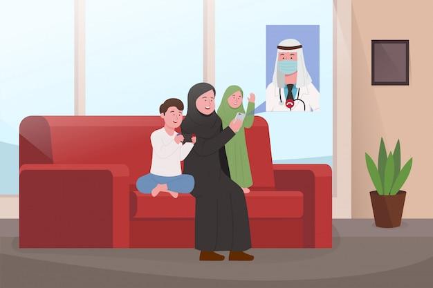 Familia árabe en videollamadas caseras con el padre