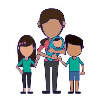 Familia avatar sin rostro dibujos animados líneas azules