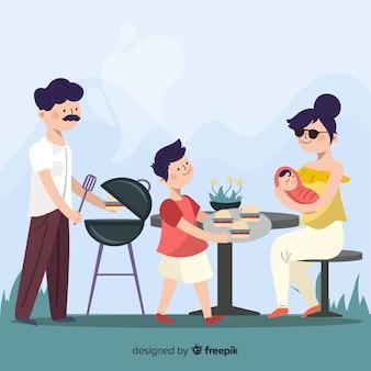 Familia en una barbacoa dibujada a mano