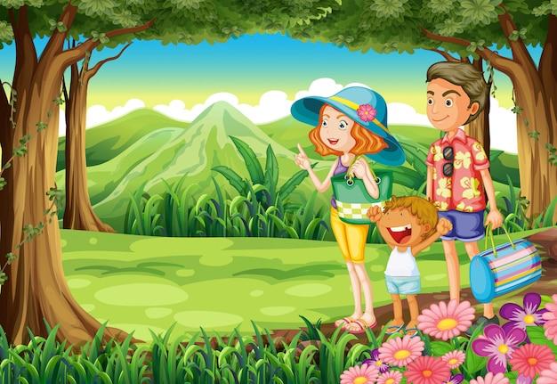 Una familia en el bosque