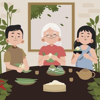 Familia de botes de dragón plana preparando y comiendo ilustración de zongzi