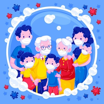 Familia en una burbuja de jabón protegida contra virus
