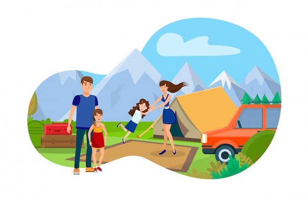 Familia en el campo de montaña plana ilustración vectorial