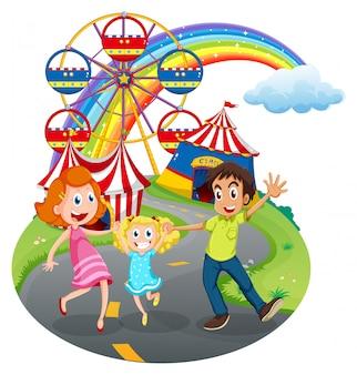 Una familia en el carnaval