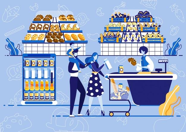 Familia con carrito de compras comprar producto en la tienda.