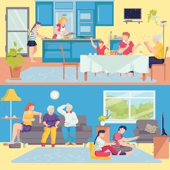 Familia en casa conjunto de banners interiores de padres, abuelos e hijos en la habitación, ilustración de cocina. familia feliz junto en el sofá, cenando. madre e hija cocinando comida.
