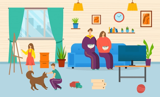 Familia en casa junto, ilustración. padre madre en el sofá, personaje de niño dibujar y jugar con perro, interior de la casa. niño niña sentada interior, ocio de dibujos animados en la sala de estar.