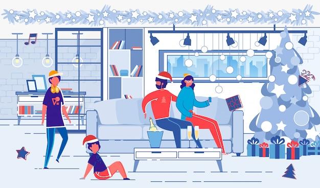 Familia celebra vacaciones de navidad en casa.