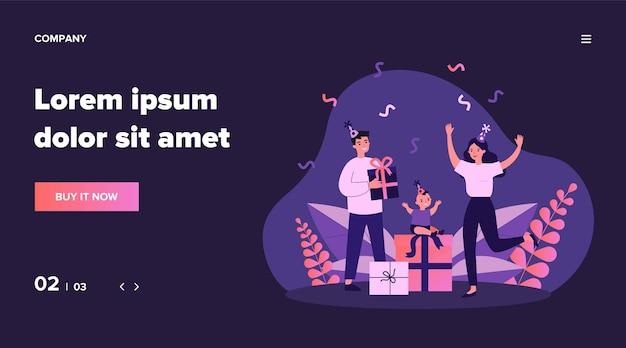 Familia celebrando el primer cumpleaños de un niño. pareja joven, niño pequeño, regalos, ilustración de confeti. fiesta para bebés, infancia, concepto divertido para banner, sitio web o página web de destino