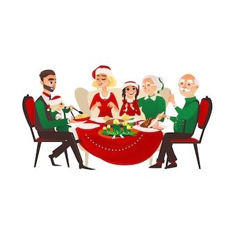 Familia celebrando las vacaciones de navidad