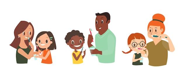 Familia cepillándose los dientes juntos. ilustración de la vida diaria dental y de ortodoncia con personas de la diversidad.