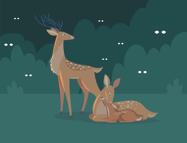 Familia de ciervos en la ilustración de dibujos animados de noche
