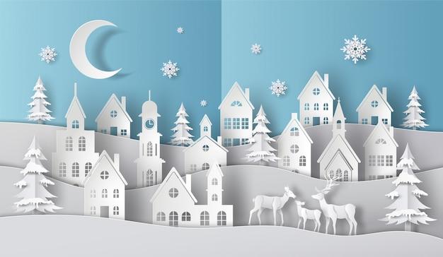 Una familia de ciervos en un pueblo en escena de navidad, feliz navidad y feliz año nuevo.