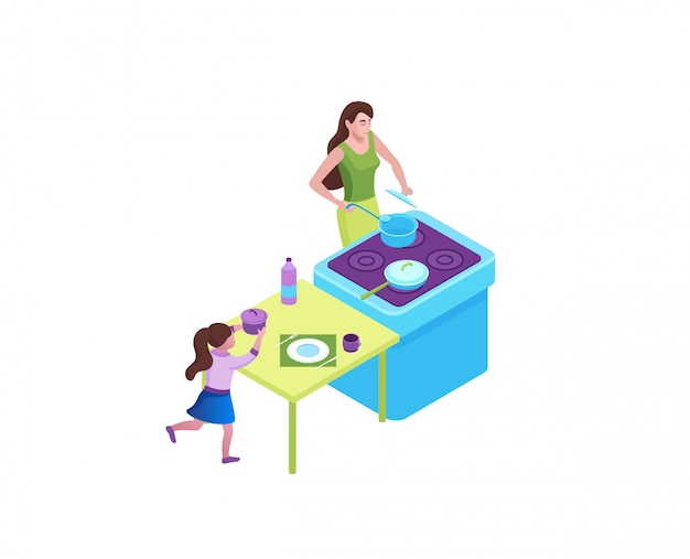 Familia cocinando comida en la cocina