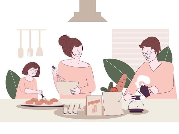 Familia cocinando juntos en la cocina