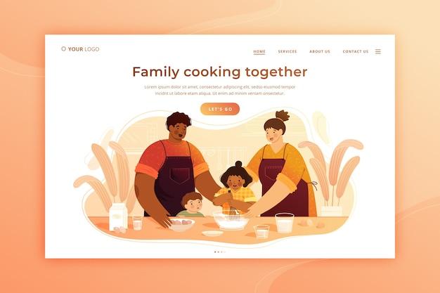 Familia cocinando juntos plantilla de página de aterrizaje