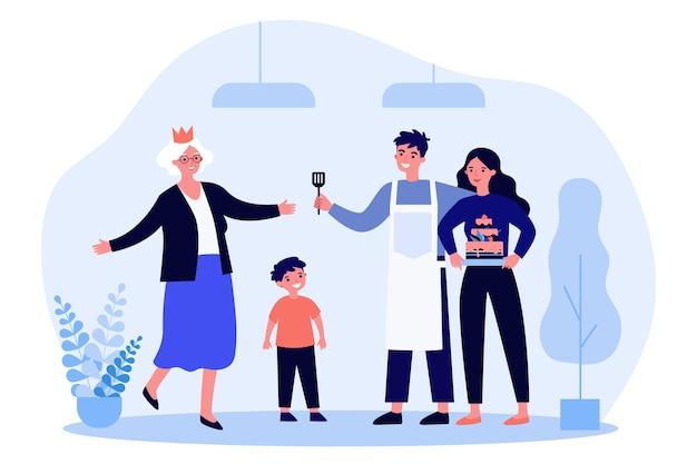 Familia cocinando pastel y celebrando el cumpleaños de las abuelas en diseño plano