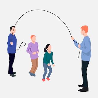 Familia colorida jugando ilustración vectorial