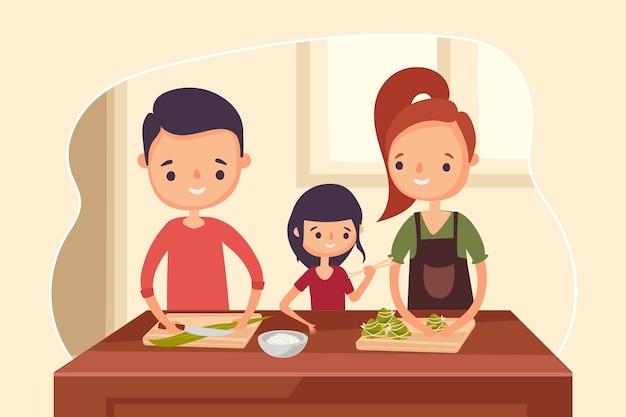 Familia comiendo concepto zongzi
