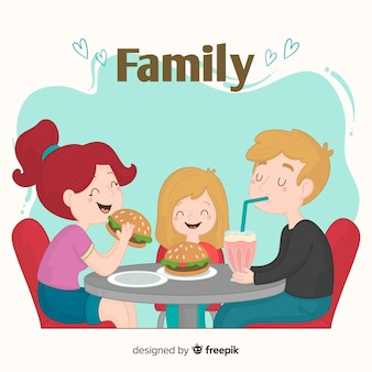 Familia comiendo hamburguesas juntos dibujada a mano