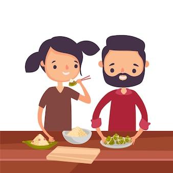 Familia comiendo tema zongzi