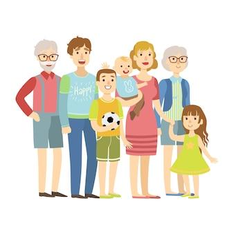 Familia completa con padres, abuelos y dos niños, ilustración de la serie happy loving families